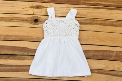 GIRL DRESS BODRUM DESIGN WHITE COLOR (6-12 MONTHS)